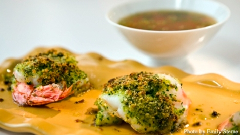 Parsley-Garlic Stuffed Shrimp in Yuzu-Dashi Dip
