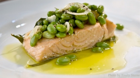 Olive Oil Poached Salmon with Edamames