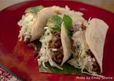 Lamb Tacos with Chile-Tzatziki